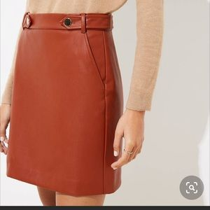 Loft brown faux leather button skirt